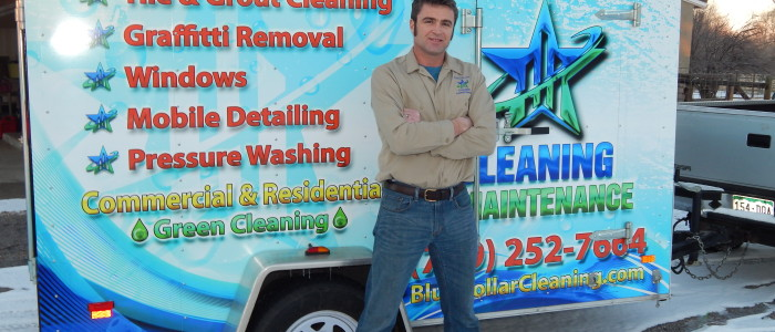 Blue Collar Cleaning's new trailer wrap