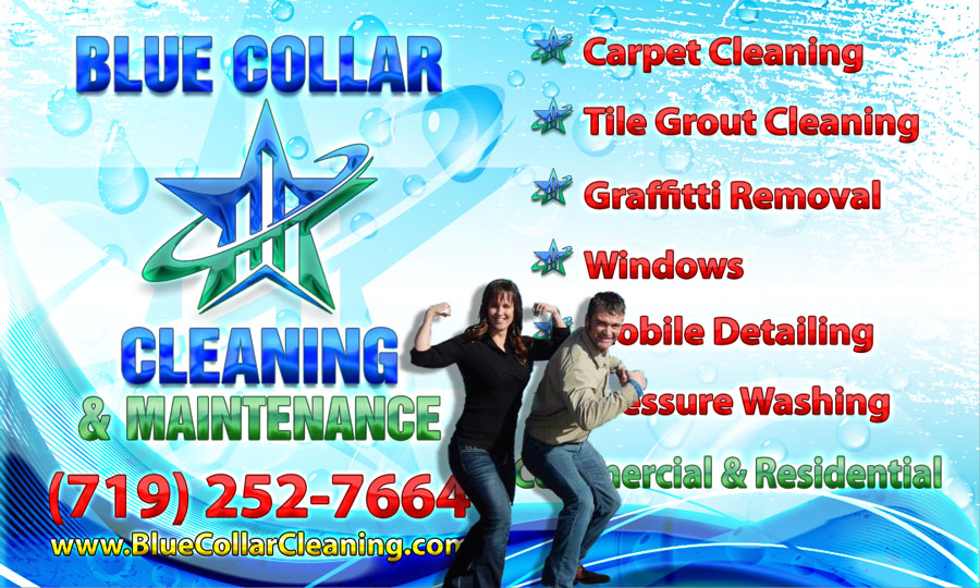 Blue Collar Cleaning Logo with Dani and Nick